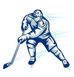 Moving hockey player in retro silhouette style for vector