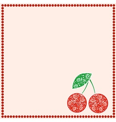 Card with berries empty square form with cherries vector