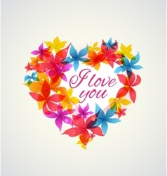 Abstract heart with flowers vector