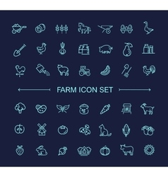 Farm icon set simple and thin line design vector