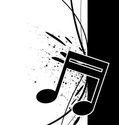 music note with ink splatter vector image