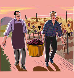 A man and a boy carrying a basket full of freshly vector
