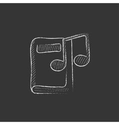 Audio book drawn in chalk icon vector