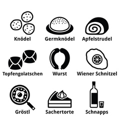 Austrian food - traditional meals an drink icons vector