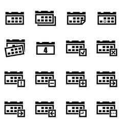 black calendar icon set vector image vector image