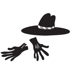 Black hat and gloves vector