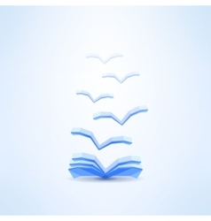 Book icon with flying pages made in low poly vector image vector image