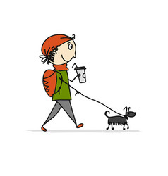 Boy walking with dog sketch for your design vector