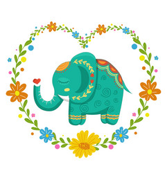 Card with lovely cute pattern elephant in the vector