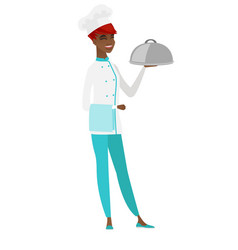 chef cook holding towel and cloche vector image vector image