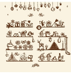 Christmas shop sketch drawing for your design vector image