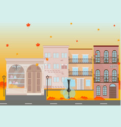 city buildings in autumn season background vector image