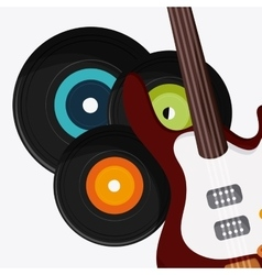 Electric guitar vinyl music festival icon vector