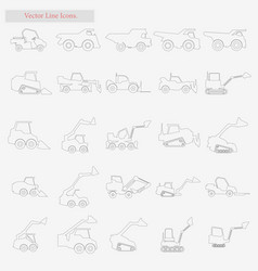excavator set style line icons on white vector image vector image