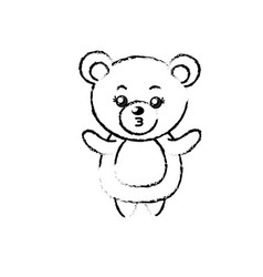 Figure cute bear wild animal with face expression vector