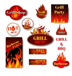Fire label grill vector