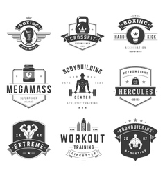 Fitness logos templates set vector