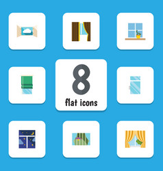 Flat icon frame set of curtain balcony cloud and vector