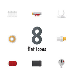 Flat icon sanitary set of roll radiator vector