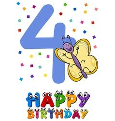 fourth birthday cartoon card design vector image
