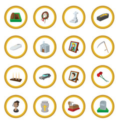 Funeral and burial cartoon icon circle vector