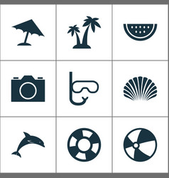Hot icons set collection of parasol mammal vector