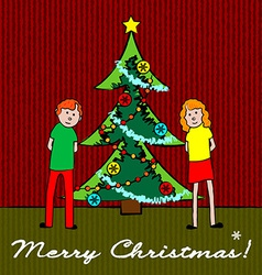 Kids with Christmas tree vector image vector image