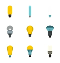 Lighting icons set flat style vector image vector image