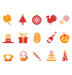 Orange red color holiday icons set vector