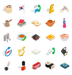 Quiet life icons set isometric style vector
