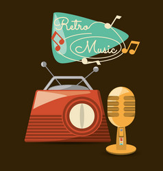 Retro radio and microphone to listen and sign vector