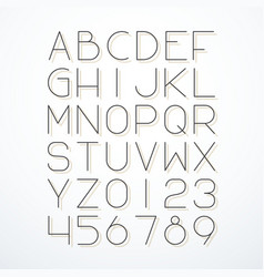 Thin line font with shadow vector