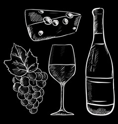 Wine hand drawn sketch chalk on blackboard vector
