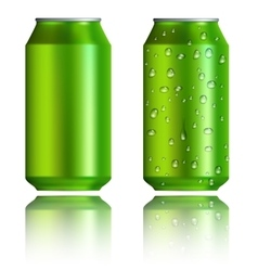 Green aluminum cans with drops realistic style vector