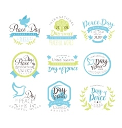 World peace day set of label designs in pastel vector