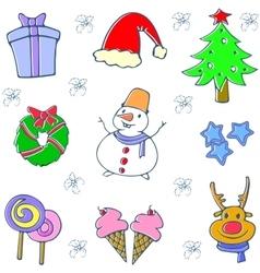 Doodle of Christmas set design vector image