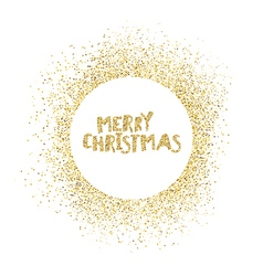 Merry chruistmas postcard gold sparkles on white vector