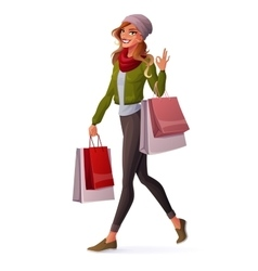 Young woman walking with shopping bags and vector
