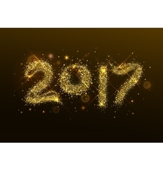 Number 2017 year golden confetti flash vector