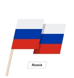 Russia ribbon waving flag isolated on white vector