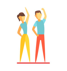 Man and woman doing fitness exercise colorful vector