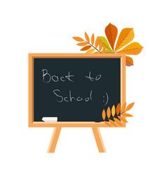blackboard chalk and fallen leaves set of school vector image