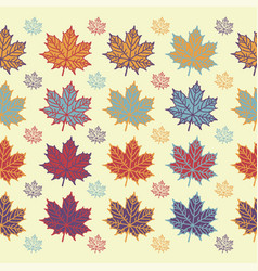 maple leaf seamless pattern on white background vector image