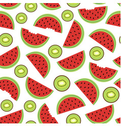 Seamless pattern with watermelon and kiwi vector