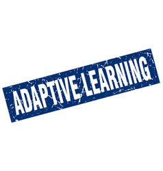 Square grunge blue adaptive learning stamp vector
