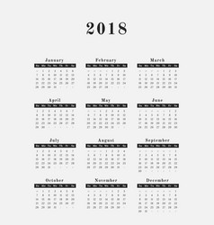 2018 year calendar vertical design vector image