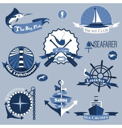 Sea labels set vector