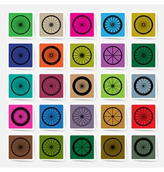 Bicycle wheels square sticker set vector