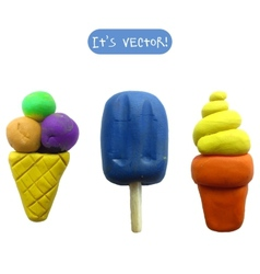 Icon of plasticine ice cream vector