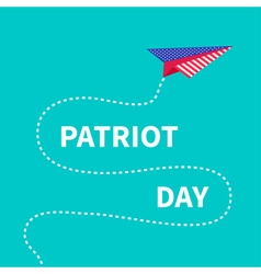 Patriot day background paper plane dash line vector